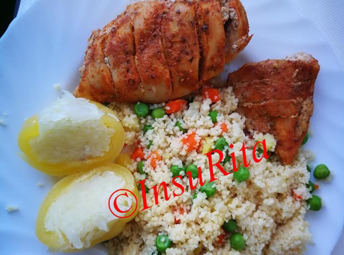 Sütőben sült csirkemell, zöldséges kuszkusszal